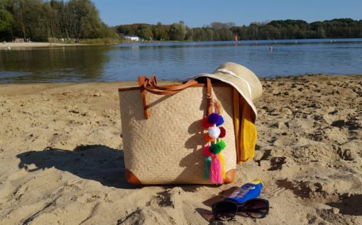 rattan beach bag with pull string