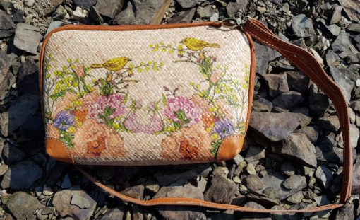 rattan bag on rock