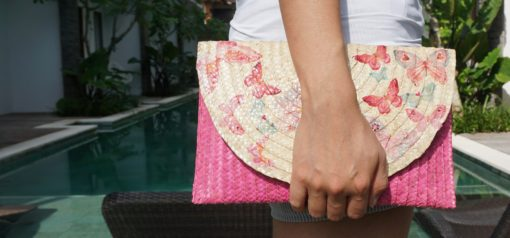 deco clutch pink butterfly