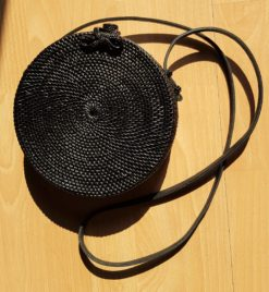 black round rattan bag
