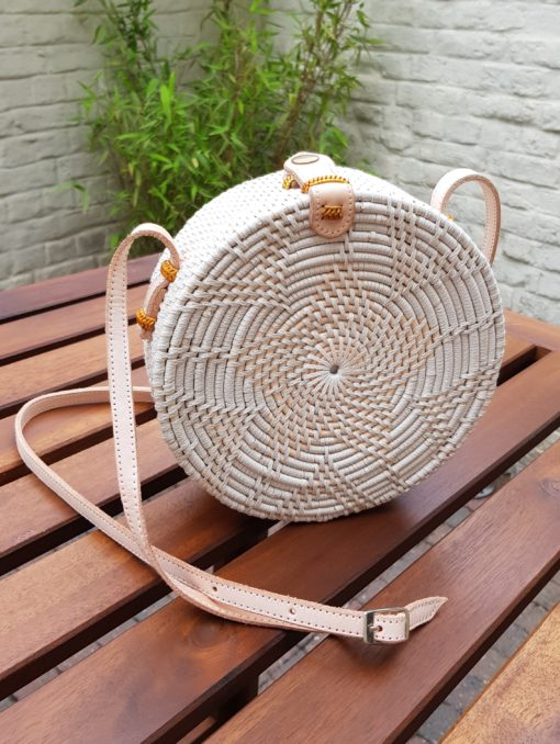 white round rattan sling bag
