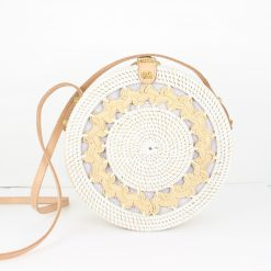 braided white round rattan bag