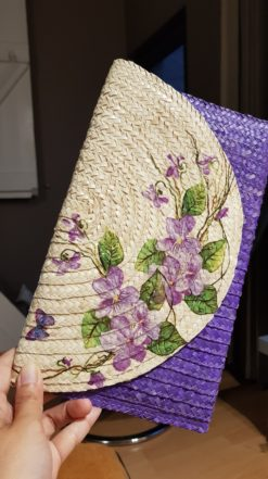 purple clutch with flowers