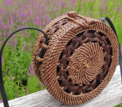 dark braided rattan bag