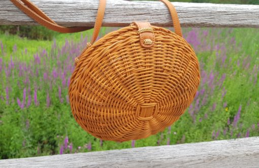 scallop rattan bag