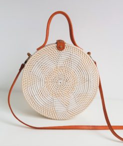 big white round clutch crossbody