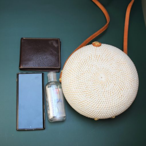 white round bag and content
