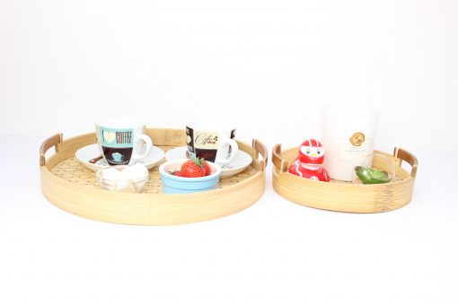 2 sizes of round bamboo tray