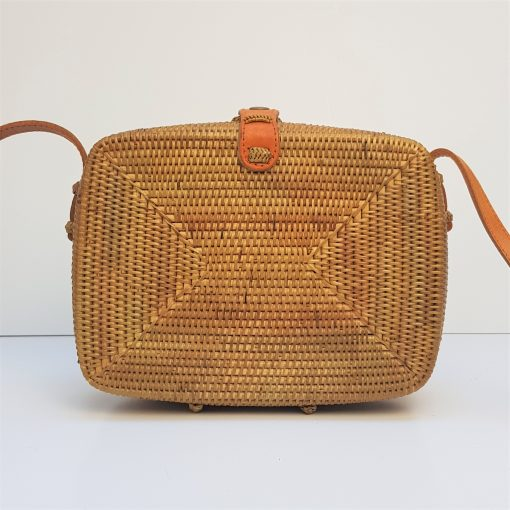 square rectangle bali rattan bag