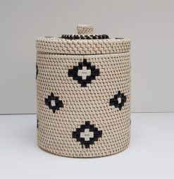 white rattan tube container
