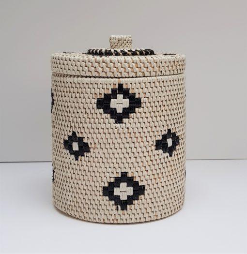 white rattan tube container