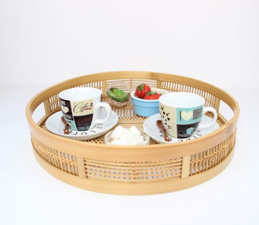 round bamboo tray with cups