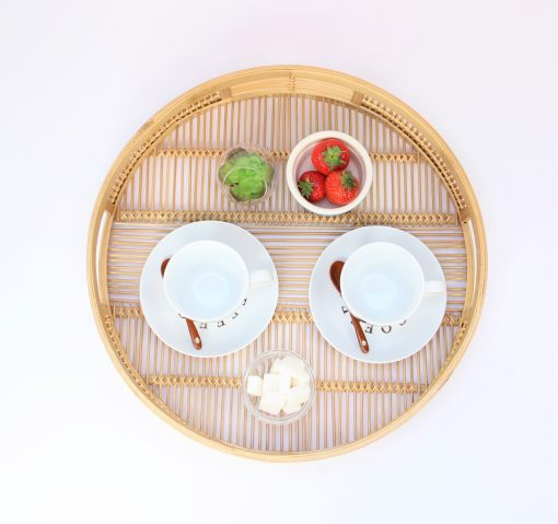 round bamboo tray top
