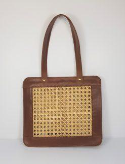 rattan cane webbing tote bag