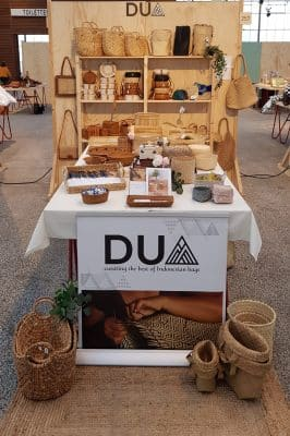 display of natural bags and baskets