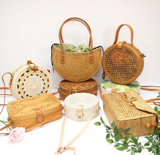 several rattan bags