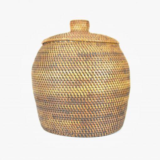dark round handmade basket