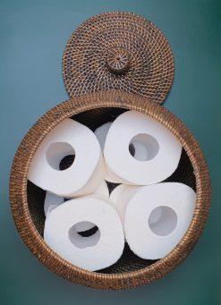 round handmade basket dark