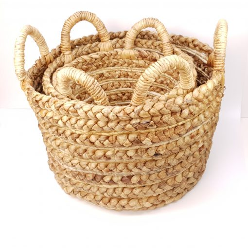 handmade indonesian hyacinth round basket