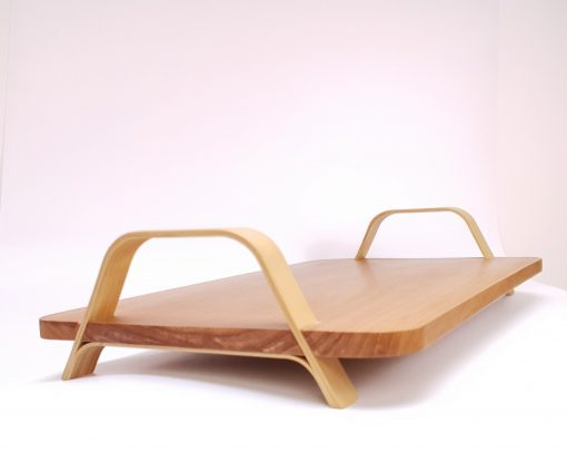 square wooden tray with bamboo handles