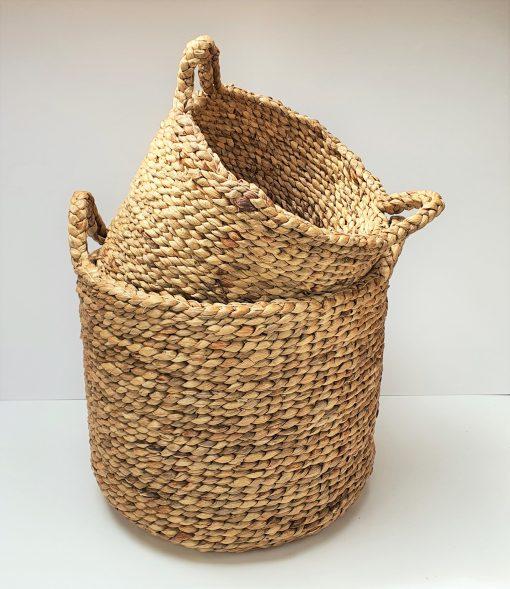 two jute baskets